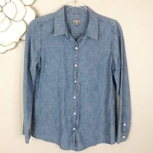 J. Jill denim long sleeved button down shirt